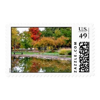 Fall scene at Lake Shawnee, Topeka, KS Postage Stamp