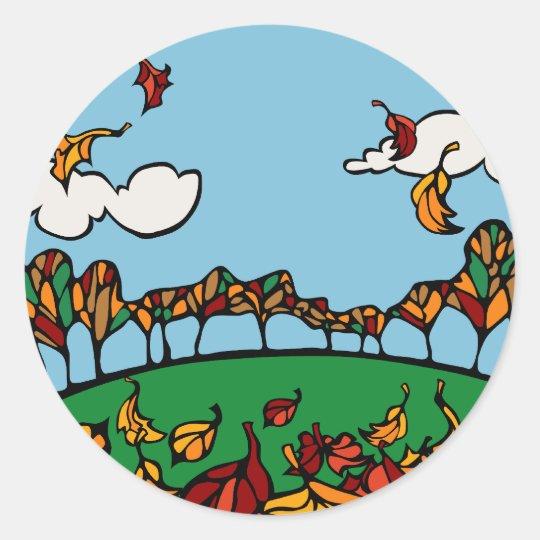 Fall Scene Classic Round Sticker