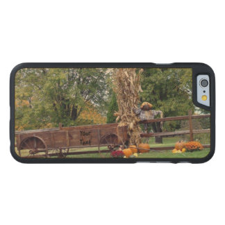 Fall Scene Old-Time Farm Cart, Scarecrow, Pumpkins Carved Maple iPhone 6 Slim Case
