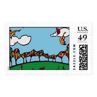 Fall Scene Postage Stamp
