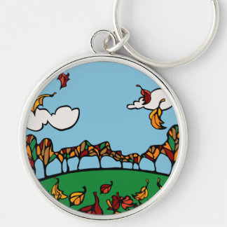 Fall Scene Silver-Colored Round Keychain