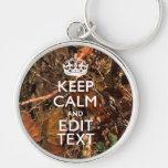 Fall Season Camouflage Keep Calm Your Text Keychain