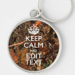 Fall Season Camouflage Keep Calm Your Text Silver-Colored Round Keychain