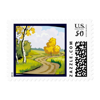 Fall Season Colors Change Postage Stamp