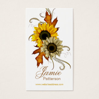 Fall Season Flower Vertical Business Cards