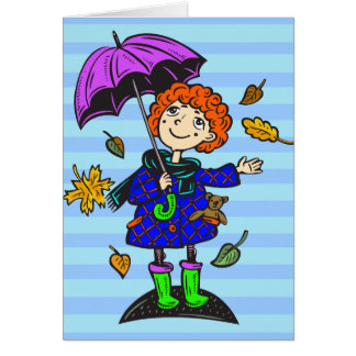 Fall Season Girl Card