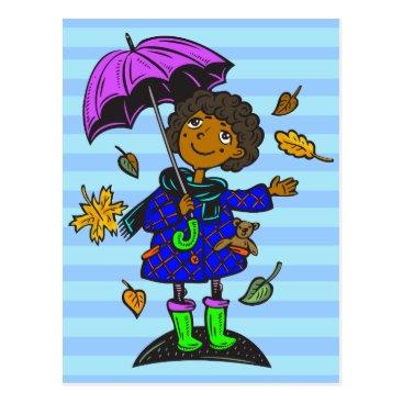 Toddler & Baby themed Fall Season Girl Postcard