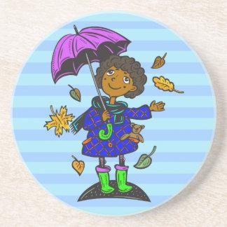 Fall Season Girl Sandstone Coaster