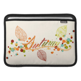 Fall Season Leaf And Bubbles Composition MacBook Sleeves