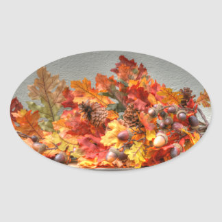 Fall Season Leafs Oval Sticker