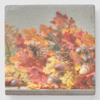 Fall Season Leafs Stone Coaster