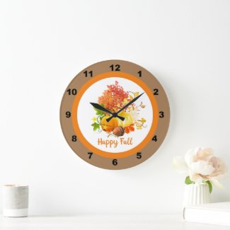 Fall Season Pumpkin and Tree Leaves Decorative Large Clock