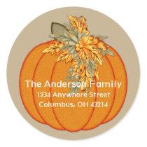 Fall Season Pumpkin Design 1 Address Stickers