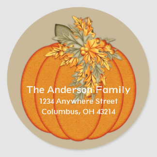 Fall Season Pumpkin Design 1 Address Stickers