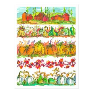 Fall Season Watercolor Harvest Postcard