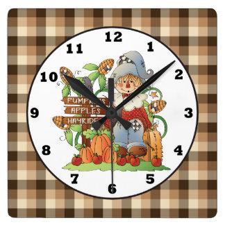 Fall Seasonal Scarecrow wall clock
