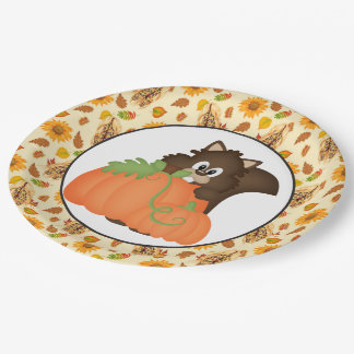 Fall Seasonal squirrel party paper plates