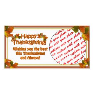 Fall Seasons Best Happy Thanksgiving Text Custom Photo Card