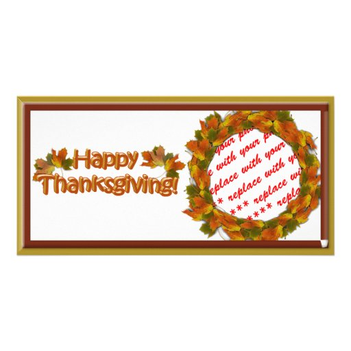Fall Seasons Best Happy Thanksgiving Text Photo Card