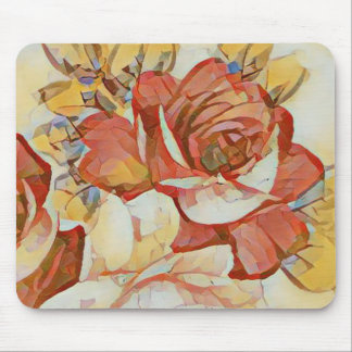 Fall Shades of  Peach Orange Yellow Floral Rose Mouse Pad