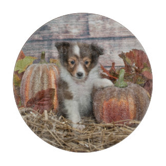 Fall Sheltie Puppy Cutting Board