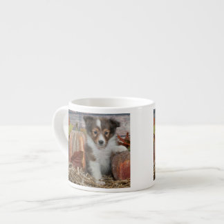 Fall Sheltie Puppy 6 Oz Ceramic Espresso Cup