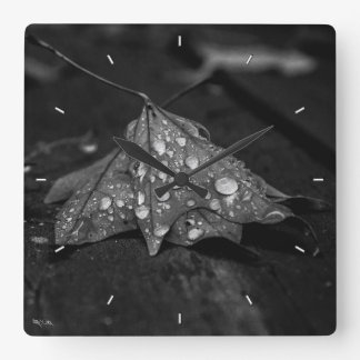 Fall Showers Square Wall Clock