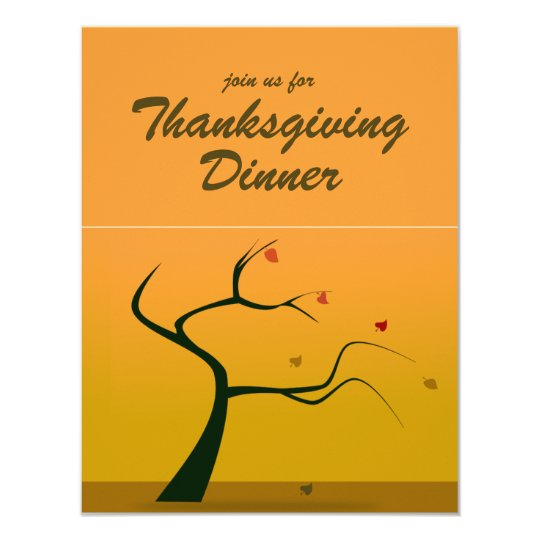 Fall Silhouette Tree Thanksgiving Dinner Invite