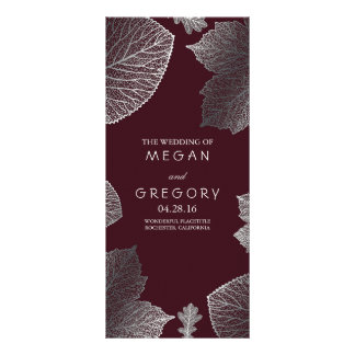 Fall Silver and Burgundy Leaves Wedding Programs