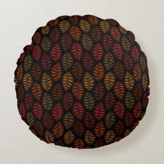 Fall Skeleton Leaf Pattern | Changeable Background Round Pillow
