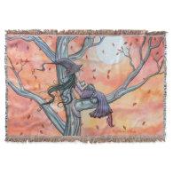 Fall Slumber Fantasy Witch Cat Halloween Art Throw