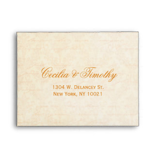Fall Spice & Cream Damask Wedding RSVP Linen A2 Envelope