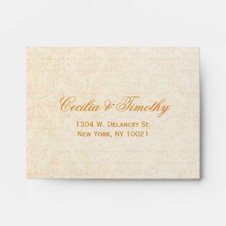 Fall Spice & Cream Damask Wedding RSVP Linen A2 Envelopes