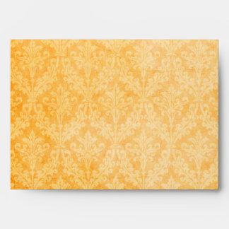 Fall Spice Gold Damask: Custom Linen Wedding A-7 Envelope