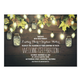 Fall String Lights and Mason Jars Rustic Wedding Card