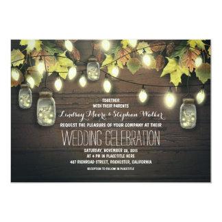 Fall String Lights and Mason Jars Rustic Wedding Invitation