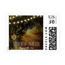 Fall String Lights Oak Tree Wedding Stamps