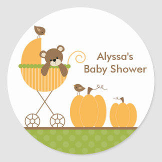 Fall Stroller Baby Shower Stickers