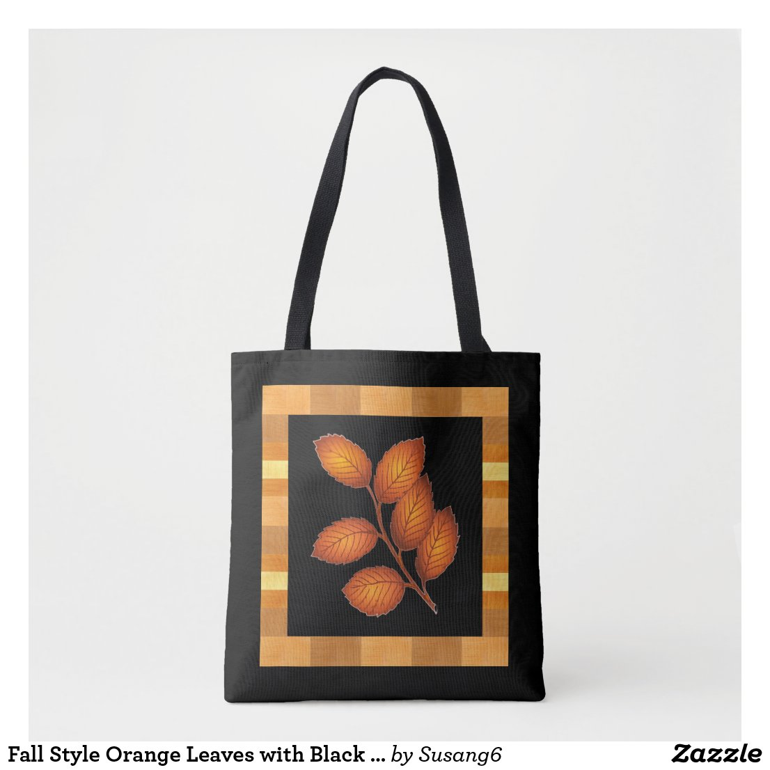 Fall Style Orange Leaves with Black Tote Bag