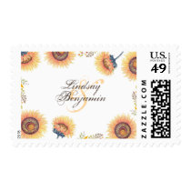 Fall Sunflower Blossoms Floral Rustic Wedding Postage