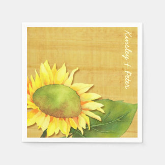 Fall Sunflower on Papyrus Wedding Paper Napkins Disposable Napkin