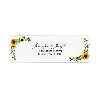 Fall Sunflower Rustic Barn Country Wedding Label