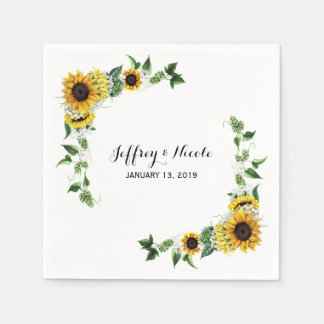 Fall Sunflower Rustic Barn Country Wedding Napkin