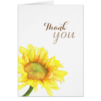 Fall Sunflower Watercolor Wedding Thank You Card