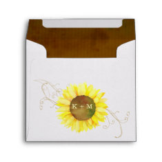Fall Sunflower Wedding Invitation Square Envelopes