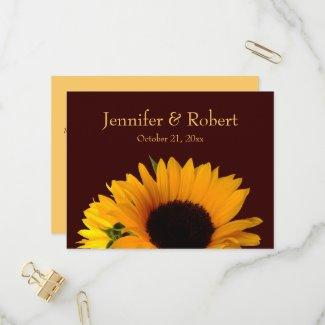Fall Sunflower Wedding RSVP Invitation Postcard