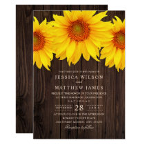 Fall Sunflower Wedding Rustic Country Barn Invitation