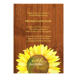 Fall Sunflowers 60th Birthday Party Invitations