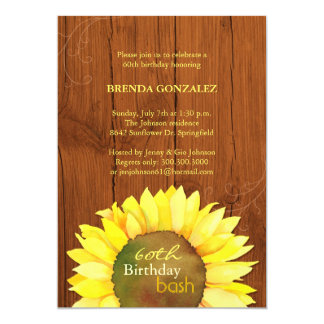 "Fall Sunflowers 60th Birthday Party Invitations 5"" X 7"" Invitation Card"