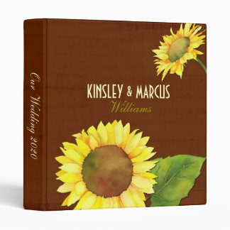 Fall Sunflowers Brown Wedding Photo Album Binders